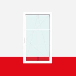 Sprossenfenster Typ 6 Felder Weiß 8mm SZR Sprosse 1 flg. Dreh-Kipp Fenster