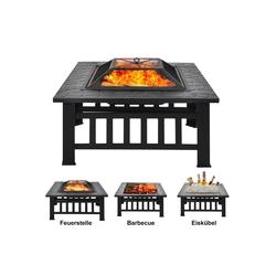 Flieks Feuerschale, Feuerstelle mit Grillrost, 3 in 1 Feuerschale im Freien