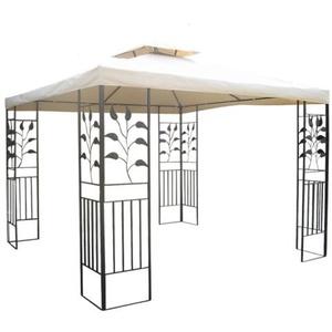 habeig WASSERDICHTER Pavillon TOSKANA 3x3m Metall inkl. Dach Festzelt wasserfest Partyzelt (Beige)