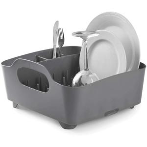 Umbra Tub Geschirr Abtropfgestell – Abtropfkorb mit integriertem Tropfwasserabfluß für Ihre Spüle oder Arbeitsfläche in Ihrer Küche Zuhause, im Büro oder Wohnwagen, Kunststoff / Anthrazitgrau