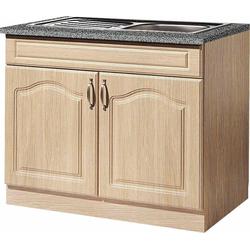 wiho Küchen Spülenschrank Linz 100 cm breit, inkl. Einbauspüle beige