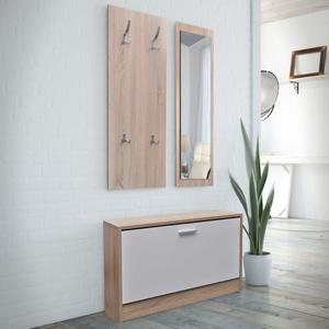 UBaymax Garderoben Set Flur 3-in-1, Kompaktgarderobe Flurgarderobe Wandgarderobe inklusive Schuhschrank, wandmontierten Spiegel, Holz Garderobenpaneel, Eiche und weiß