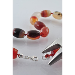 Adelia´s Kette ohne Anhänger Regenbogen-Obsidian Steinstrang rund, oval