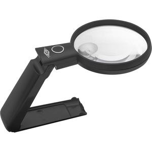 WEDO 2717565 LED-Handlupe mit ausklappbarem Standfuß und verstellbarem Lupenkopf, großes Sichtfeld, 2- und 4-fache Vergrößerung, inkl. Batterien, Schwarz, 22,3 x 9,7 x 2,2 cm