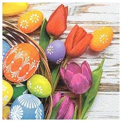 Linoows Papierserviette 20 Serviette, Ostern, Frühling, Bunte Eier im, Motiv Ostern, Frühling, Bunte Eier im Korb und Tulpen
