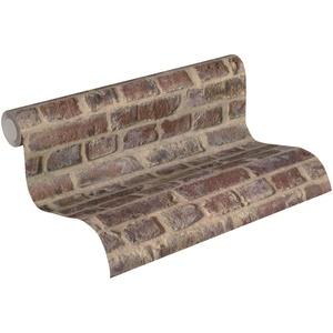 Thomas Vliestapete in Vintage Backstein Optik Tapete Industrial Loft Style 10,05 m x 0,53 m rostrot beige Made in Germany TLT019