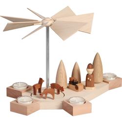 Seiffener Volkskunst Teelichthalter 16403, Weihnachtsmotiv, Teelichtpyramide, Teelichthalter