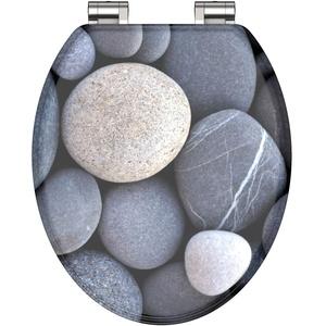 WC-Sitz - Toilettendeckel | Klodeckel mit Absenkautomatik | MDF Holzkern | Toilettensitz mit Muster (Steine)