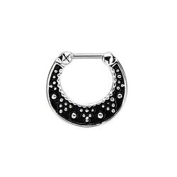 Adelia´s Nasenpiercing Septum Clicker Nasenpiercing schwarz mit Akzenten, Septum Clicker aus 925 Silber