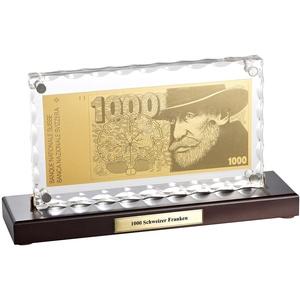 Vergoldete Banknoten-Replik 1000 Schweizer Franken