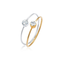 Elli Ring-Set Solitär Swarovski® Kristalle (2 tlg) 925 Bicolor, Kristall Ring 56