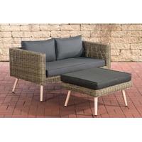 Clp 2er Sofa MOLDE mit Fußhocker I Natura I Loungeset Rundrattan I Gartensofa mit Hocker I 5mm Natura-40 cm (Hellbraun)-Anthrazit