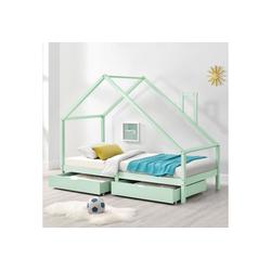 en.casa Kinderbett, Assling Hausbett 90x200cm mit 2 Schubkasten Jugendbett Mintgrün grün