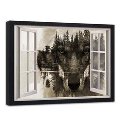 HomeLiving Bild mit Rahmen Fenster zum Wolf, Motiv siehe Bild/Beschreibung