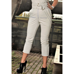 Lederhose als Designer Hose in ECHT-LEDER weiss mit hoher Taille
