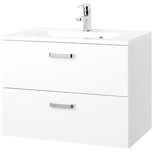 Waschbecken mit Unterschrank Auszüge Waschtischunterschrank 70 cm hochglanz weiß