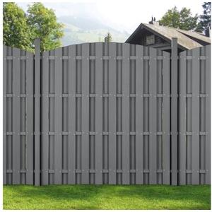 Sonnenschutz, neu.holz, blickdicht, WPC Gartenzaun Sichtschutzzaun Windschutz 185 cm hoch in verschiedenen Breiten grau 562 cm