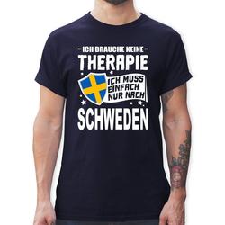 Shirtracer T-Shirt Ich brauche keine Therapie Ich muss einfach nur nach Schweden - weiß - Herren Premium T-Shirt M