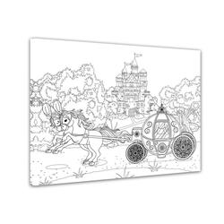 Bilderdepot24 Wandbild, Pferdekutsche mit Schloss - Ausmalbild 70 cm x 50 cm