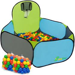 Pop Up Bällebad mit 200 Bällen - Kinder Bällepool Blau mehrfarbig