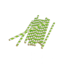 Horror-Shop Einweggeschirr-Set Grün-weiße Party Strohhalme aus Papier 12 Stück, Papier