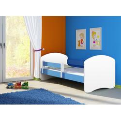 Clamaro Kinderbett (CLAMARO Kinderbett Fantasia, weiss mit farbigem Seitenteil, Kinder, Bett, mit oder ohne Schublade) blau