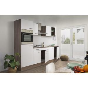 Küchenzeile Küche Einbau Küchenblock Leerblock 270 cm Eiche York weiß respekta