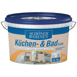 SCHÖNER WOHNEN FARBE Feuchtraumfarbe Küche/Badfarbe, sand, 2,5 l natur