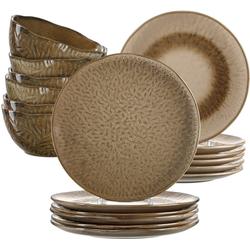 LEONARDO Geschirr-Set Matera (18-tlg), Keramik, rustikaler Look braun