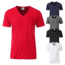 Herren Bio T-Shirt mit Brusttasche | James & Nicholson
