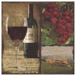 Linoows Papierserviette 20 Servietten, Rotwein Flasche und Glas, Gastro, Motiv Rotwein Flasche und Glas, Gastro Servietten