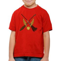 style3 Print-Shirt Kinder T-Shirt Goldener Schnatz turnier sport besen quidditch rot 140