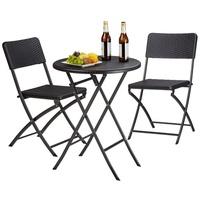 Relaxdays Bastian Set 3-tlg. Tisch Ø 60 x 75,5 cm braun klappbar