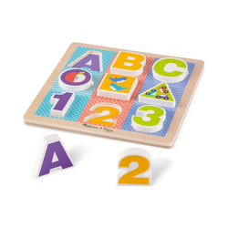 Melissa & Doug Steckpuzzle Holzklotz-Puzzle ABC-123, 9 Teile, Puzzleteile
