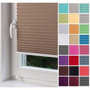 Home-Vision Premium Plissee nach Maß, ohne Bohren mit Klemmträger, für Fenster & Tür Sonnenschutzrollo Kollektion Melange (Beige, B91-100cm x H40-100cm)