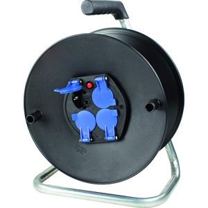 as - Schwabe Sicherheits-Leertrommel ohne Kabel – Kabeltrommel für max. 50 m Leitung – 4 Einbau-Steckdosen mit Schutzkappen – IP20 Innenbereich – Made in Germany – Schwarz I 10208