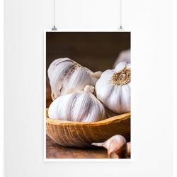 Sinus Art Poster 60x90cm Poster Food-Fotografie – Knoblauchknollen in einer Holzschüssel
