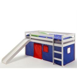 IDIMEX Spielbett BENNY in weiß, Vorhang blau