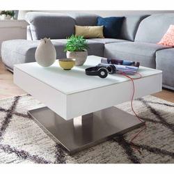 Wohnzimmer Couchtisch mit drehbarer Tischplatte Weiß