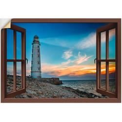 Artland Wandbild Fensterblick Leuchtturm, Fensterblick (1 Stück) 70 cm x 50 cm