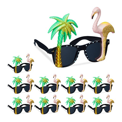 10 x Partybrille Flamingo Palme, Spaßbrille, Funbrille, Hawaii Brille, Gagbrille mehrfarbig
