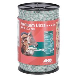 Weidezaunlitze Premium Ultra, 2,5 mm, 400 m, weiß/grün