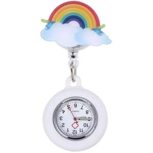 Balacoo Krankenschwester Taschenuhr Pflege Clip Uhren Versenkbare Regenbogen Fob Uhr Hängen Uhr Quarzuhr für Krankenschwestern Ärzte Studenten