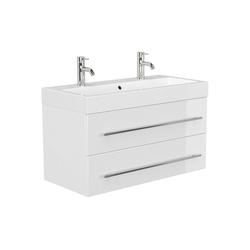Lomadox Doppelwaschtisch LISSABON-02, Doppel-Waschtisch 100cm in weiß Hochglanz - B/H/T: 100,6/60/48,1cm