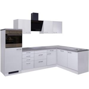 Eckküche CORVARA - L-Küche mit E-Geräten - Breite 280 x 170 cm - Weiß