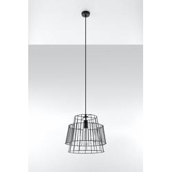 Licht-Erlebnisse Pendelleuchte DALE Hängelampe Schwarz Ø35cm stylisch Draht E27 Esstisch Kücheninsel