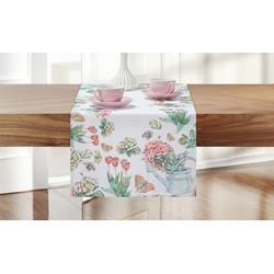 Tischläufer  Tulpen ¦ weiß ¦ 100% Polyester