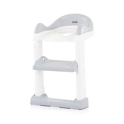Chipolino Toilettentrainer Toilettenaufsatz, Toilettensitz, mit Leiter, Griffe, Fußstütze, kompakt grau