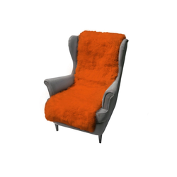Sesselschoner Hollert, Merino Lammfell Sesselauflage Orange Schaffell kuschelig weich warm atmungsaktiv