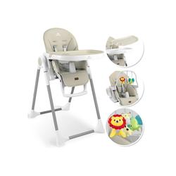 KIDIZ Hochstuhl 3in1 Hochstuhl, Sitzerhöhung, Hocker, Kinderhochstuhl inkl. Spielbügel, Babyliege, Kombihochstuhl, verstellbare Rückenlehne und Höhe,mitwachsend ab 0 natur